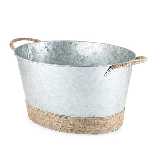 Jute Rope Wrapped Galvanized Tub