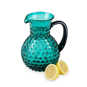 Clear blue hobnail pitcher for refreshments