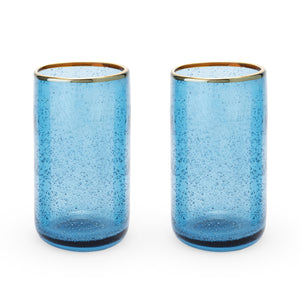 Deep Blue Bubble Glass Tumbler Set