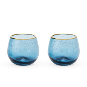 Deep Blue Bubble Stemless Wine Glass Set