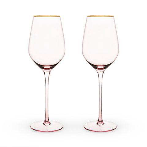 Gilded Rimmed Rose White Wine Glass