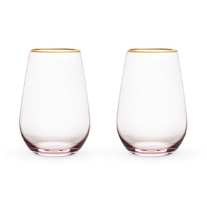 Gilded-Rim Rose Crystal Stemless Wine Glass Set