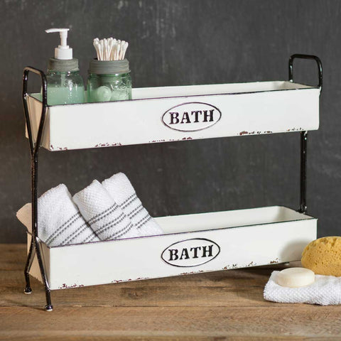 bathroom basket organizer with 2 tiers for soap and towels
