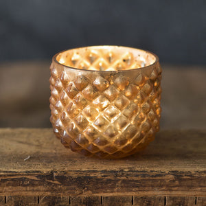 Mercury Glass Votive Candle Holder, Hobnail Vase (Set of 4)