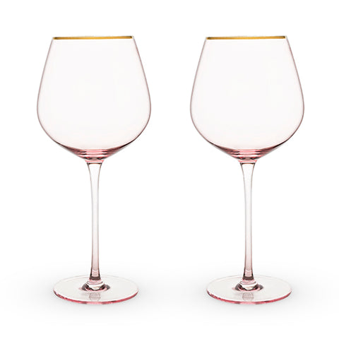Gold Rimmed Rose Red Wine Glass