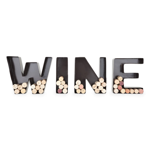wine cork holder, featuring W-I-N-E letters