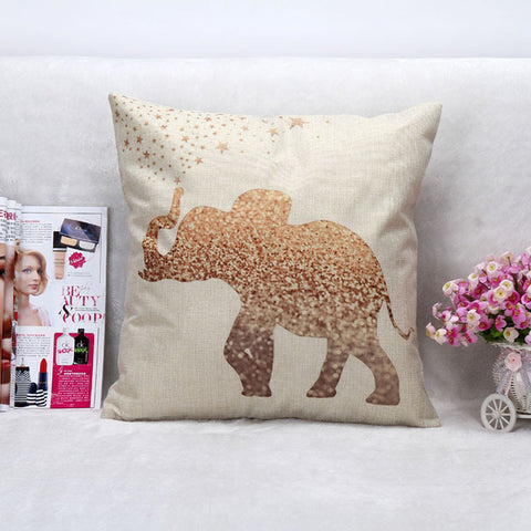 Vintage Gold Elephant Throw Pillow Case
