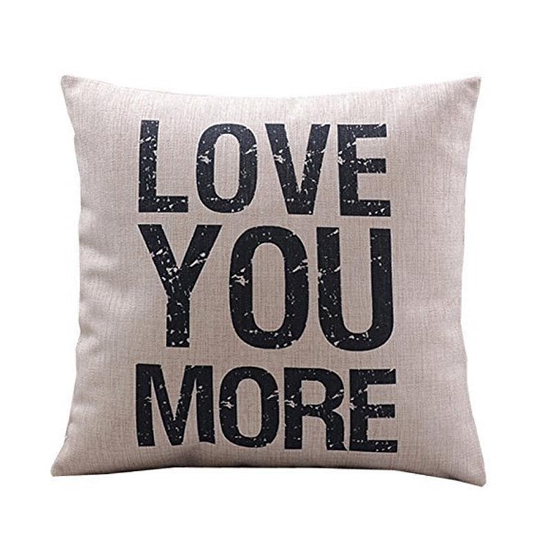 Love You More Quote Printed Sofa Pillow Cover
