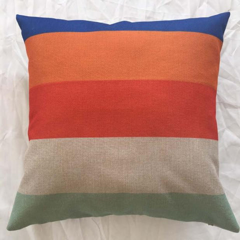Multi-colored Striped Throw Pillow Case