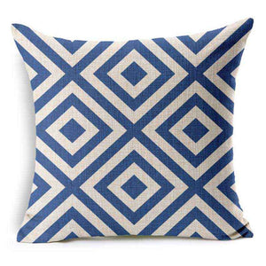 Blue Geometric Throw Pillow Case