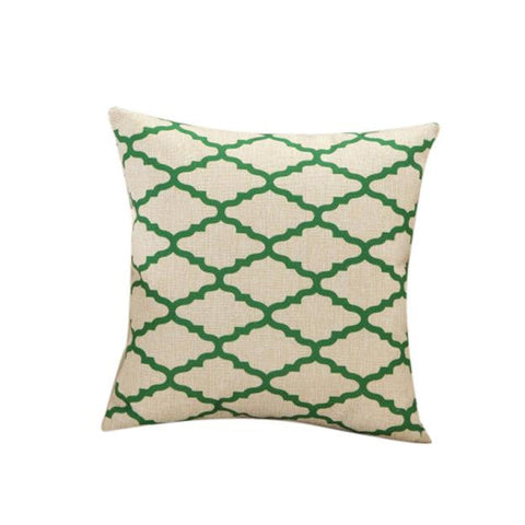 Green Geometric Throw Pillow Case