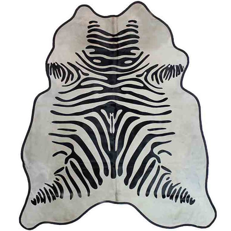 Zebra Black on Off White with Black Leather Trim Large 1