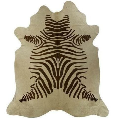 Saddlemans Zebra Brown On Beige Stenciled Hide