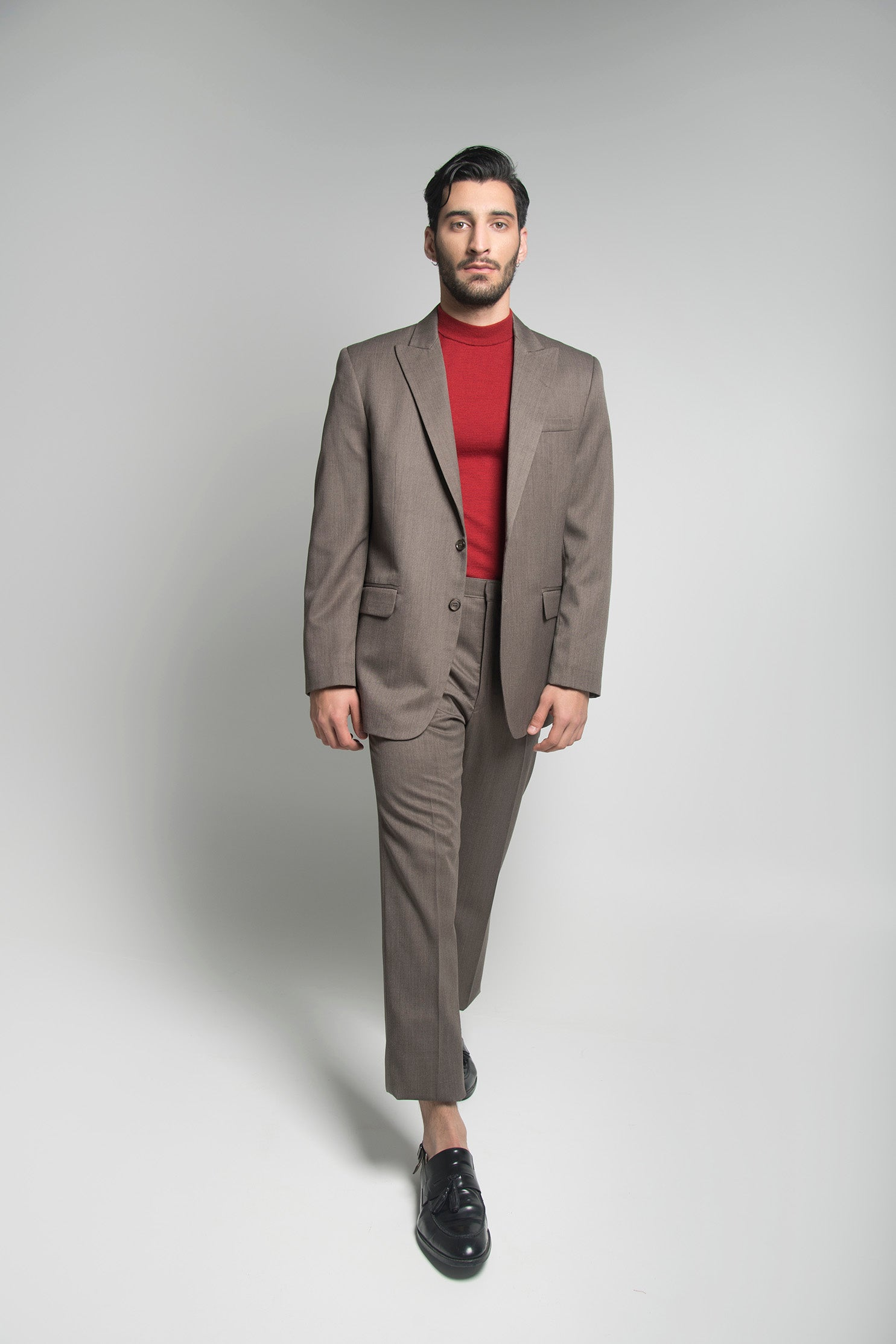 SINGLE BREASTED SUIT IN UMBER