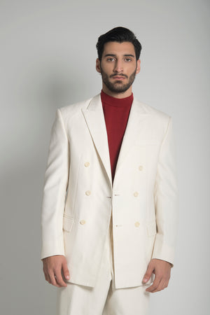 DOUBLE BREASTES SUIT IN OFF-WHITE