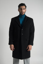 SINGLE BREASTED OVERCOAT IN BLACK