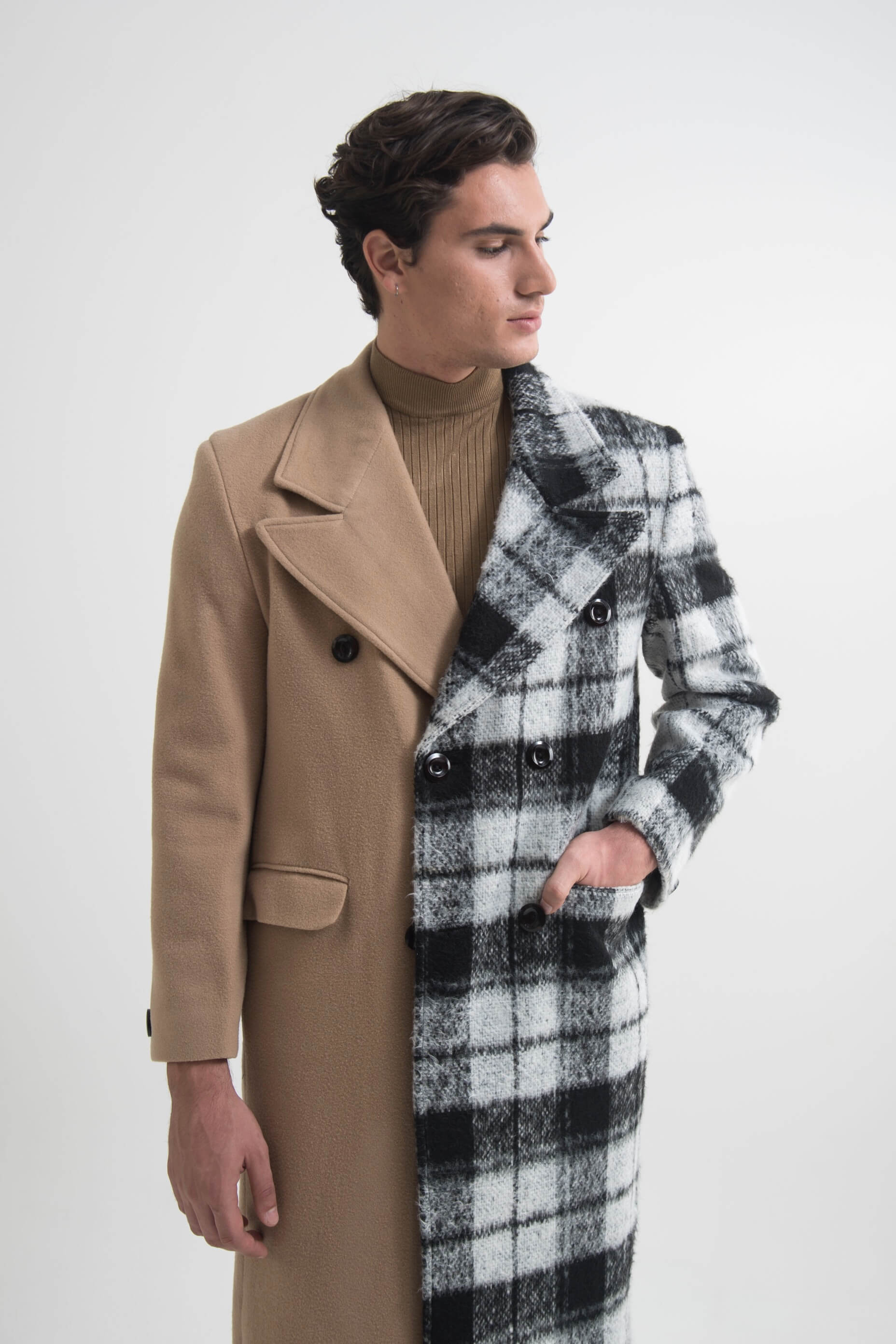 DOUBLE BREASTED LONGLINE COAT SEMI BEIGE CHECKED