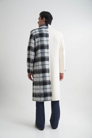 DOUBLE BREASTED LONGLINE COAT SEMI OFF WHITE CHECKED
