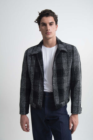 SHEARLING-TRIMMED CORDUROY BOMBER JACKET BLACK CHECKED