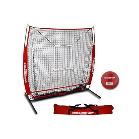 PowerNet Baseball and Softball Practice Net 5 x 5 (Bundle with Strike Zone and Training Ball)