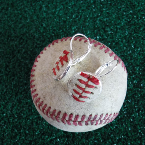 Baseball Earrings with French Lever Back