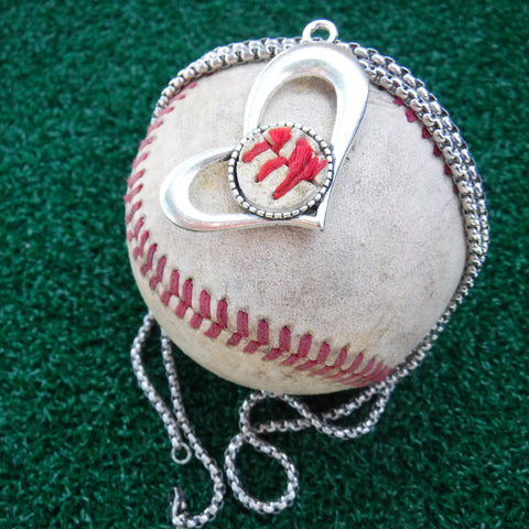 "20"" Baseball in Heart Necklace"