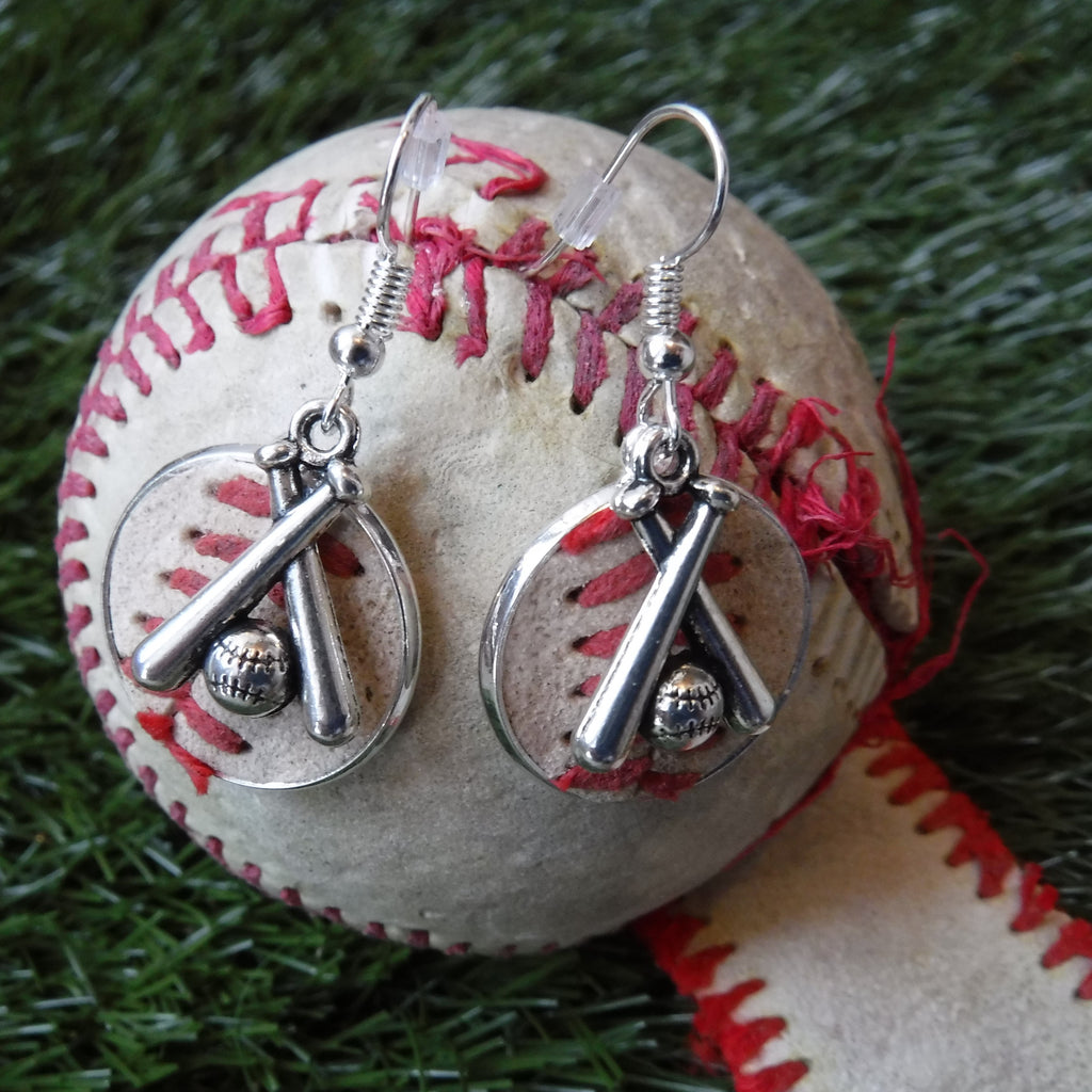 Baseball Leather Earrings - 3/4""