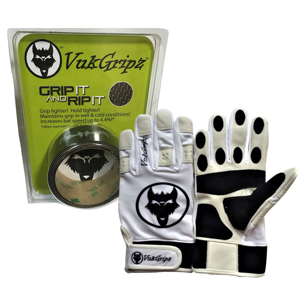 VukGripz Premier Baseball/Softball Batting Gloves and Grip Combo