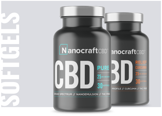 NanoCraft Capsules: Experience the wonders of CBD in our super convenient softgel form. Our new phytocannabinoid-rich formula combined with a patent pending water-soluble liquid make this a supplement you can't go without. Each softgel comes packed with 25mg of cannabidiol, plus over 40 naturally present synergistic terpenes that aid in pain relief. Try them for yourself and see why people are raving about these capsules.