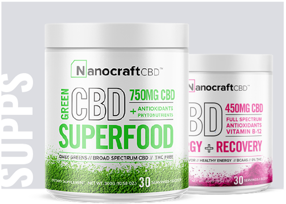NanoCraft Supplements: Fuel your life in more ways than one with our superfood supplements. While CBD can change lives, we know Mother Nature has even more to offer. We've searched the globe for the most effective phytonutrients, and combined them with cannabidiol to create ultra-nutritious formulas. Forget taking handfuls of different products. These delicious powders are a one stop shop for mind and body wellness.
