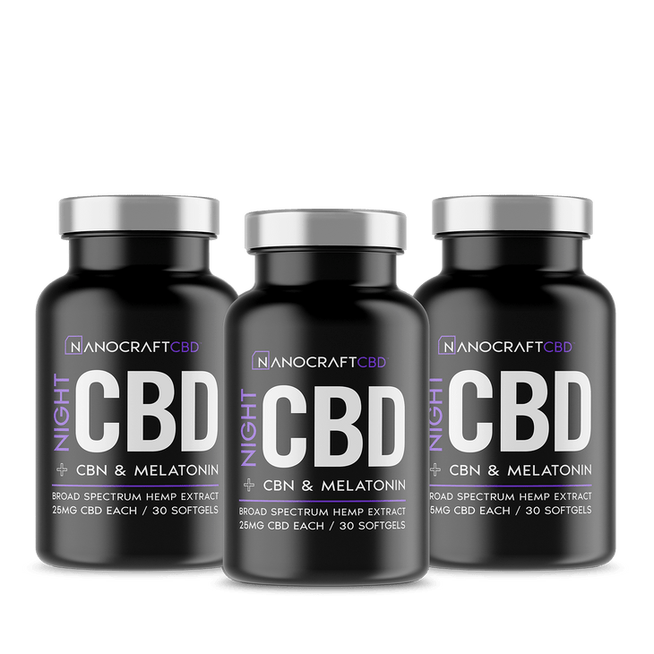 3 Bottles - Bulk - 25mg Night Time CBD Softgels with Melatonin and CBN