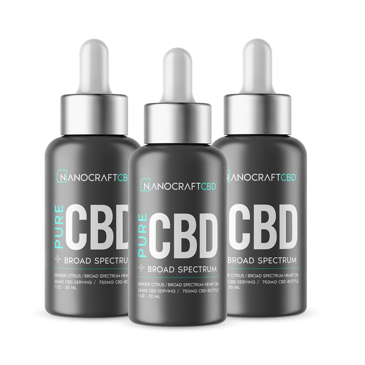 3 Bottles - Bulk - Broad Spectrum - Pure Formula CBD Drops - 750mg