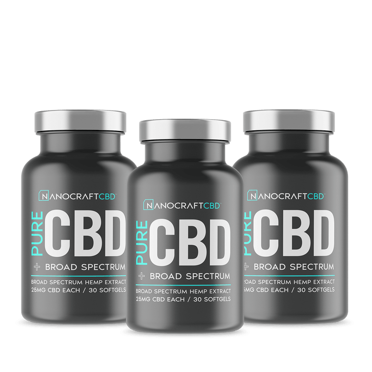 3 Bottles - Bulk - Pure CBD Softgel Capsules 25mg - Broad Spectrum