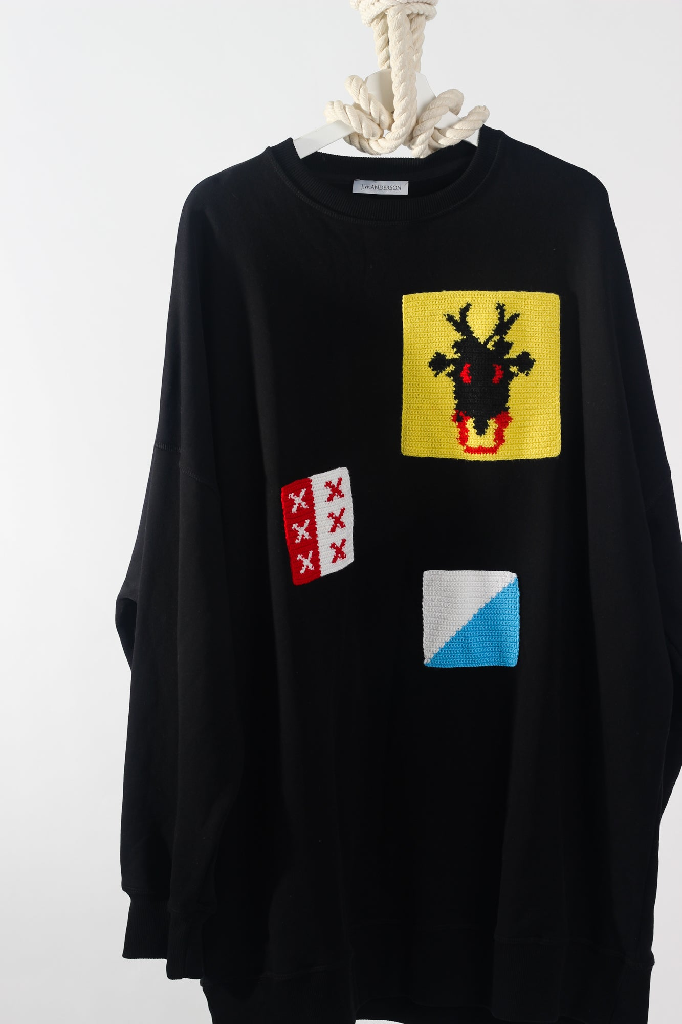 JW ANDERSON OVERSIZED JERSEY SWEATSHIRT W/ PATCHES - ONE SIZE