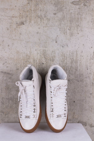 Balenciaga Men's Arena Leather Low-Top Sneakers, White - EU 42, UK 8