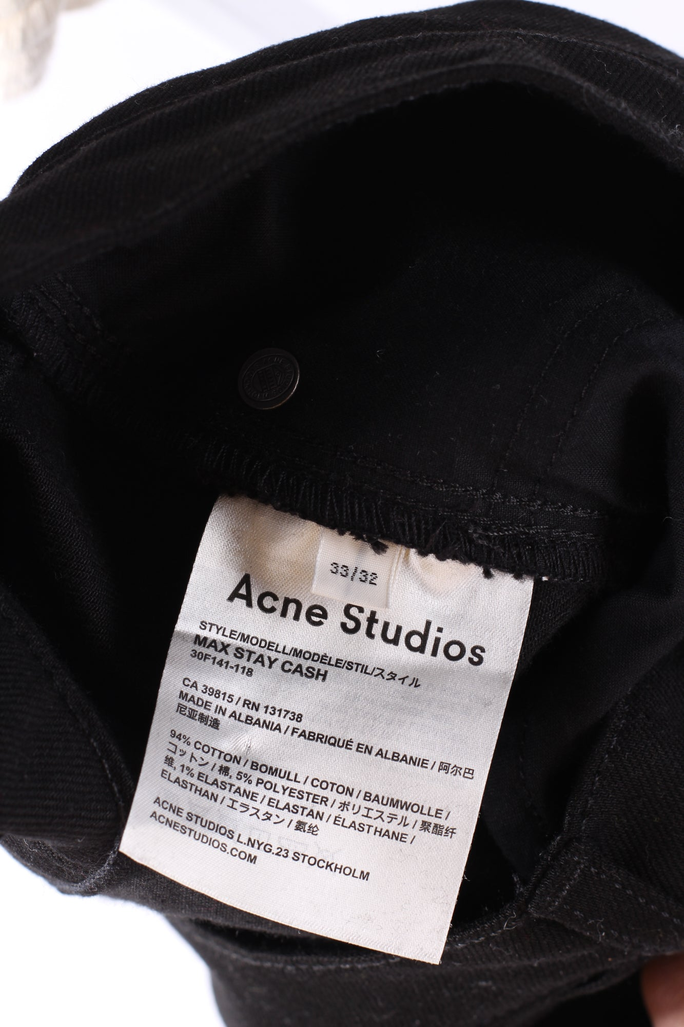 ACNE STUDIOS Men's Max Stretch-Denim Black Jeans 33W 32L