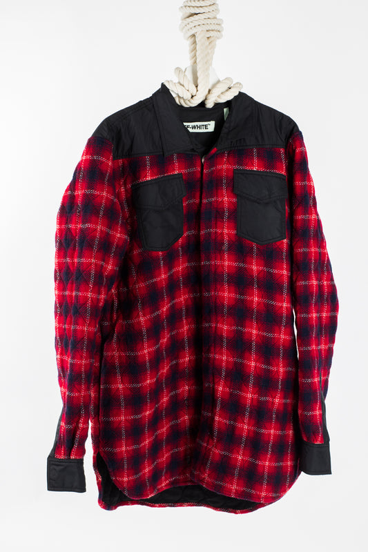 OFF WHITE Flannel Shirt with red and black check - LARGE