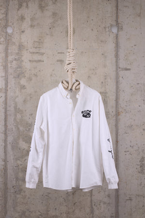 BAPE A Bathing Ape Cut & Collage White Oxford Shirt - XL
