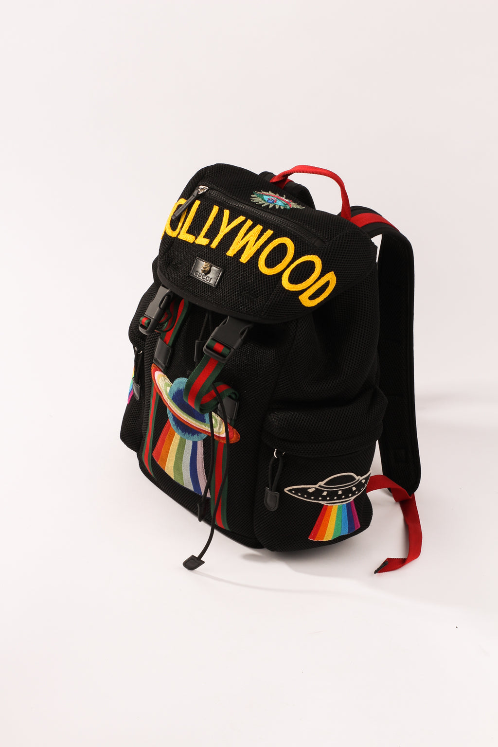 Gucci Black Mesh backpack with embroidery