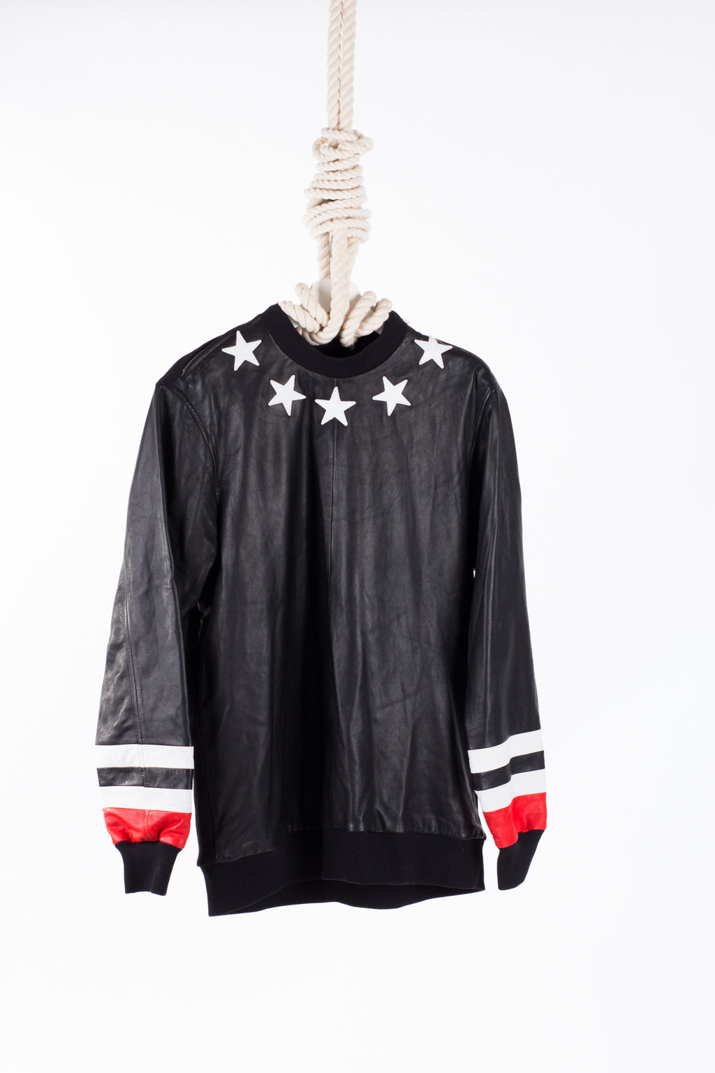 Givenchy Men's Black Stars Leather Jumper