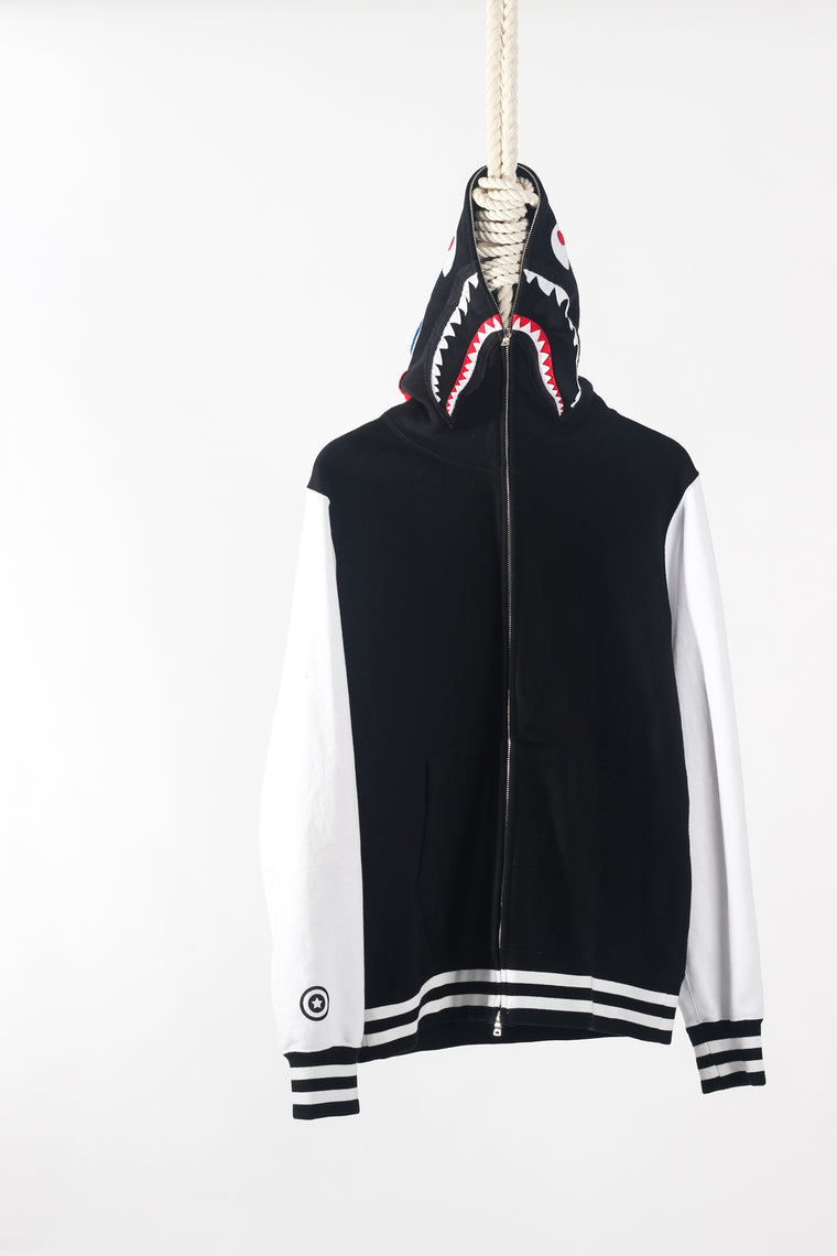 BAPE SHARK SWEAT VARISTY FULL ZIP HOODIE (BLACK/WHITE) SIZE L