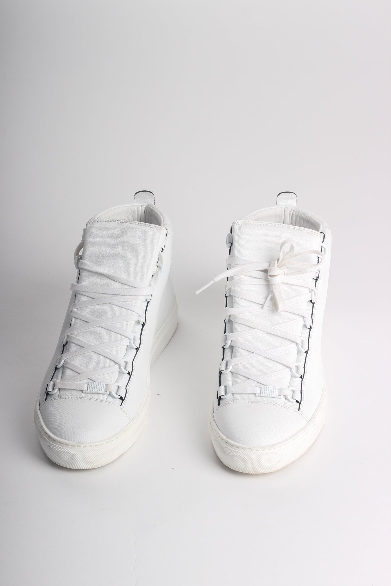 BALENCIAGA MEN'S ARENA LEATHER HIGH TOP SNEAKERS