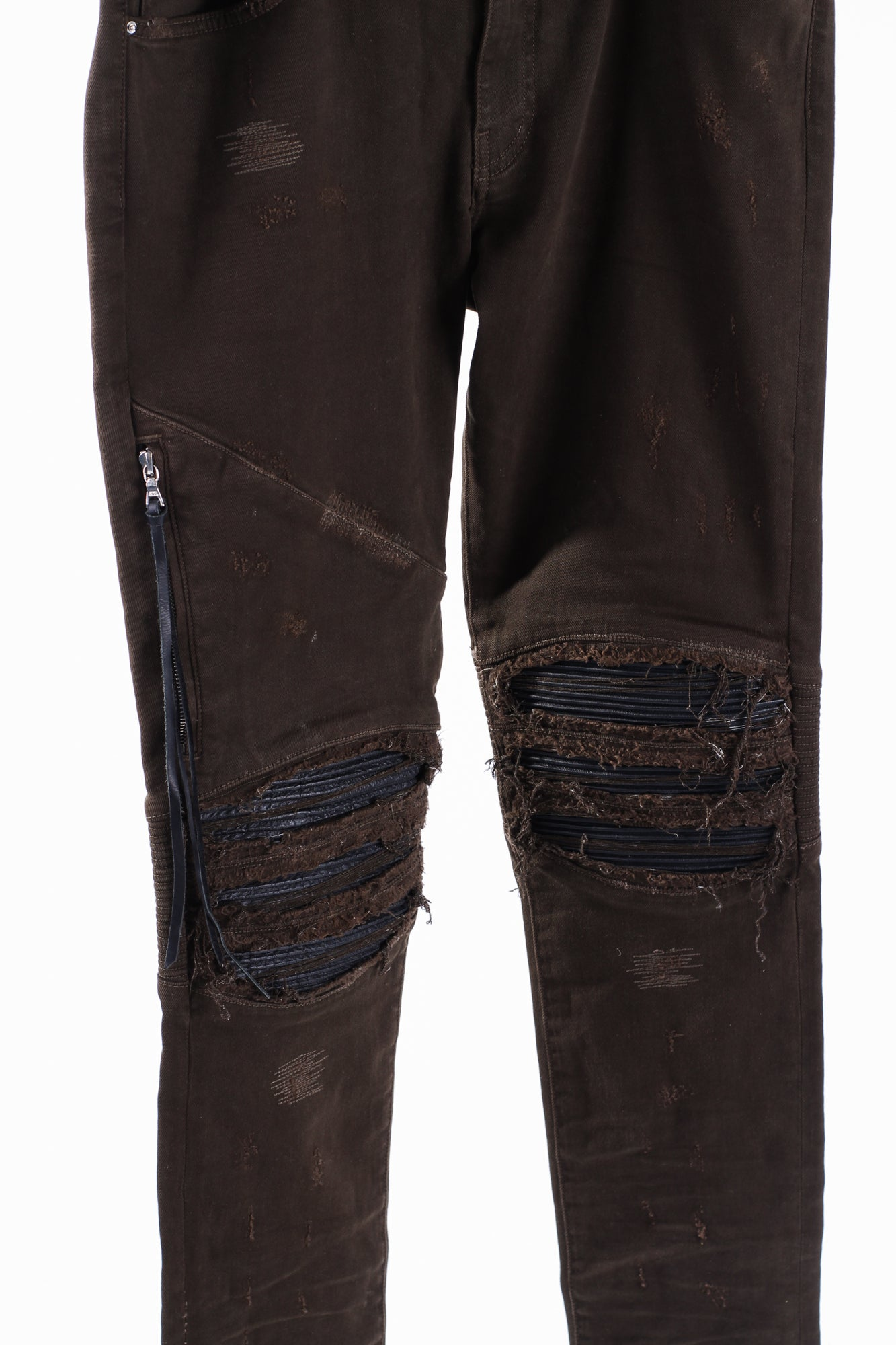Amiri Frayed Knee Jeans Olive/ Brown Men Waist 32