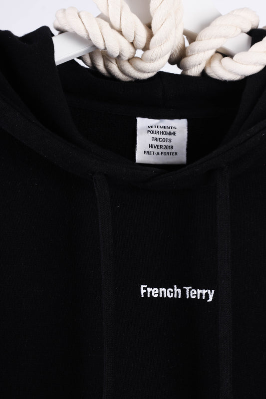 Men's Black Vetements French Terry Cotton-blend Hoody