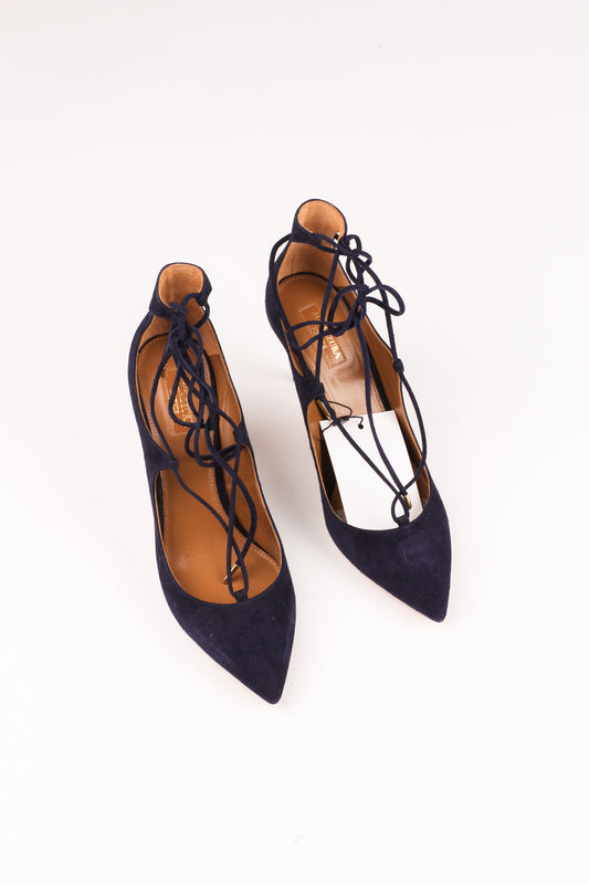 Aquazzura Blue Christy 75 Suede Pumps EU 40 UK 7