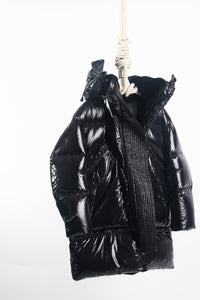 DSQUARED, Oversized Hood Shiny Nylon down parka, Black Large