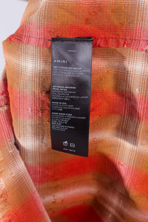 AMIRI Orange/ Red Distressed Shotgun Plaid Flannel Shirt