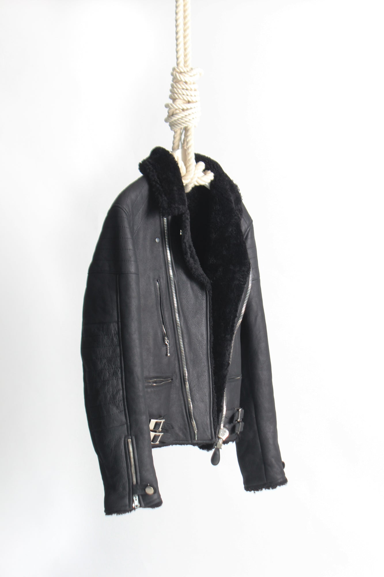 Givenchy Black Shearling Leather Jacket EU 52/ XL