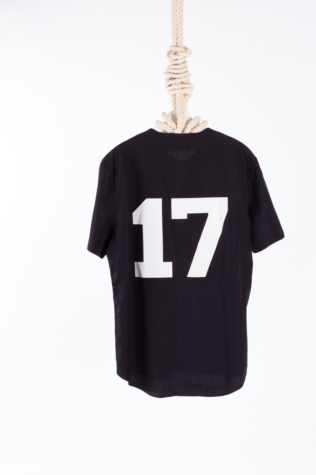 "Givenchy Men's Black ""17"" Cotton Baseball Shirt"