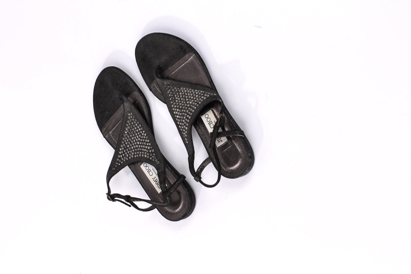 Jimmy Choo Platinum Ice Annie Sandals EU 37.5 UK 4.5